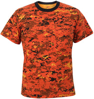 camo t-shirt orange digital camouflage various sizes rothco 5735