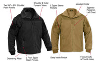 Black Tactical Military Style Fleece Winter Jacket Special Ops Rothco 96670