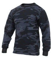 T-shirt Dark Blue Camo Long Sleeve Camouflage Cotton Poly Blend Rothco 3637