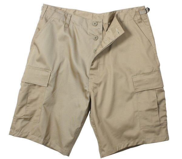 shorts khaki tan bdu military style poly cotton or rip stop mens rothco 7077