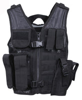 tactical vest youth kids cross draw airsoft paintball hunting black rothco 5593