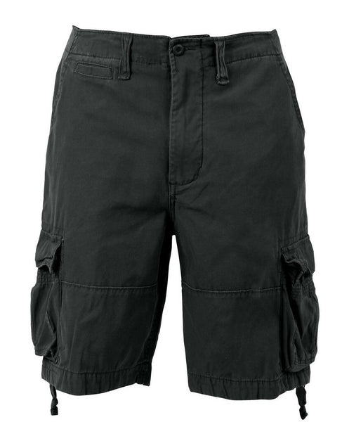 shorts black vintage style infantry utility cargo washed look mens rothco 2552