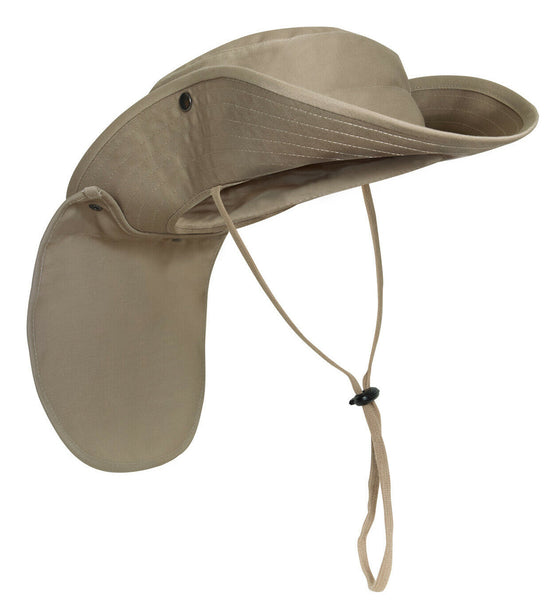 Adjustable Sun Hat Khaki Booniehat Boonie With Neck Cover Rothco 5906