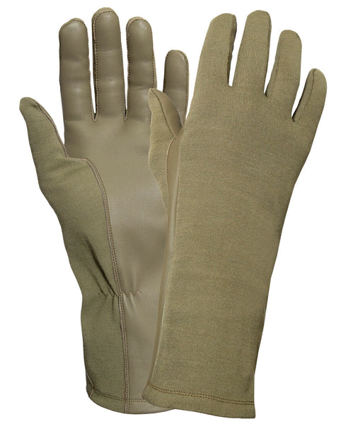 Coyote Brown Flame Heat Resistant Military Style Flight Gloves Rothco 3177