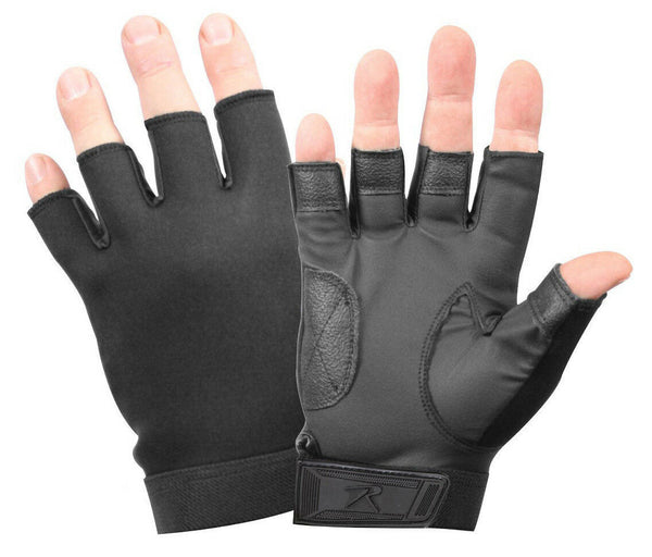 tactical fingerless gloves stretch fabric black rothco 3460