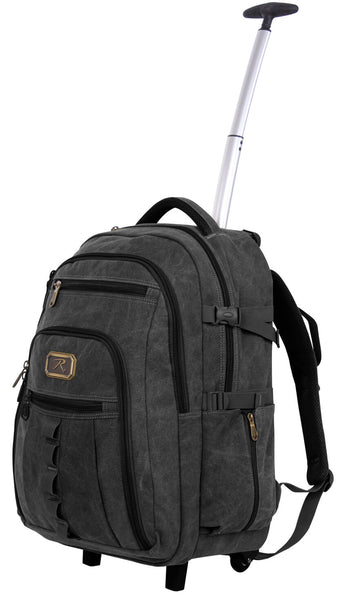 Rolling backpack travel wheeled pack canvas rothco 20055