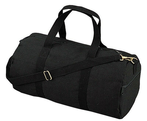 "Black Canvas Sports Gym Duffle Carry Shoulder Bag & Strap - 19"" Rothco 2221"