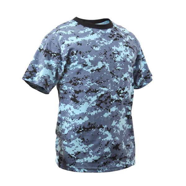 Kids Camo Boys T-shirt Sky Blue Digital Camouflage Youth Tee Shirt Rothco 5265