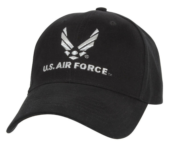 USAF Baseball Cap Air Force Low Profile Wing Logo Black Ballcap Hat Rothco 9280