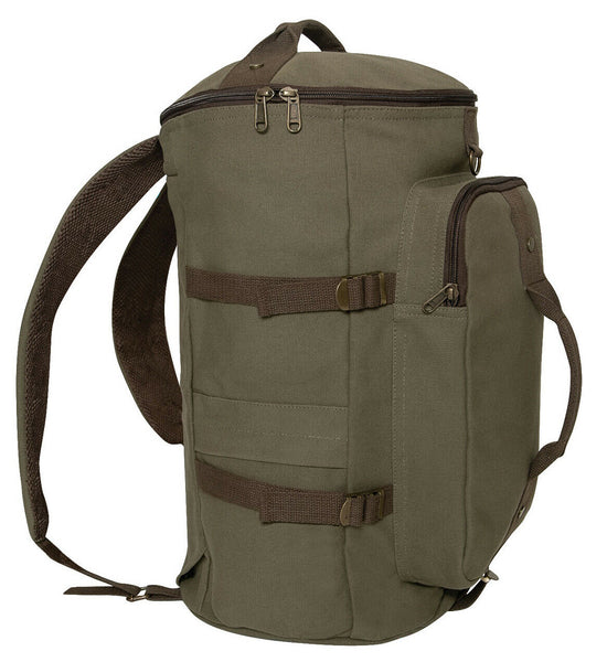 Duffel Bag Backpack Convertible OD Olive Drab Brown Canvas 19 inches Rothco 2515
