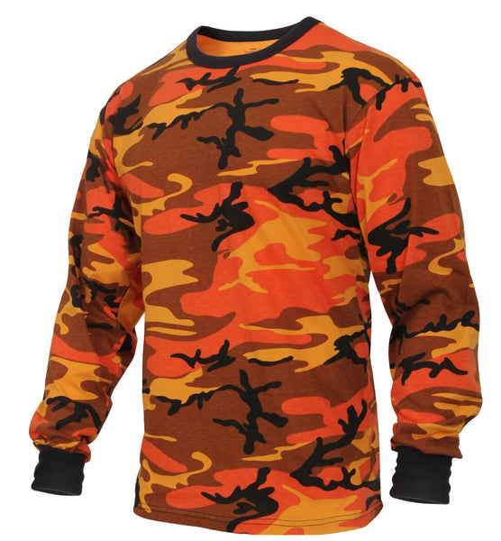 LS T-shirt Savage Orange Camo Long Sleeve Camouflage Cotton Poly Rothco 3136
