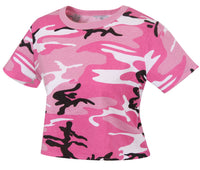 Womens Pink Camo Crop Top Shirt T-shirt Pink Camouflage Rothco 1943