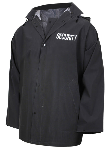 Security Rain Jacket Black Tactical Waterproof Outerwear With Hood Rothco 36651