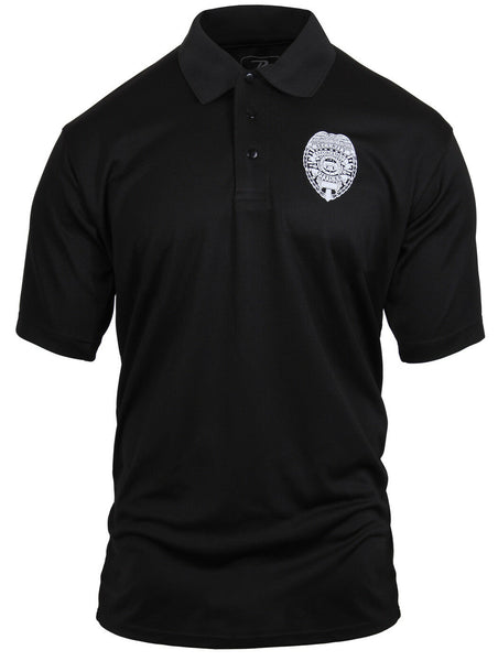 Tactical Black Security Badge Polo Shirt Performance Breathable Rothco 3627