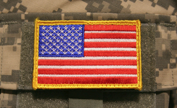"usa flag patch red white blue embroidered hook and loop backing tactical 3"" x 2"""