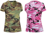 Womens Camo V Neck T-shirt Longer Length Camouflage Tee Shirt Rothco 5654 5653