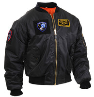 Tactical Black MA-1 Flight Bomber Jacket Patches And Loop Fields Rothco 7250