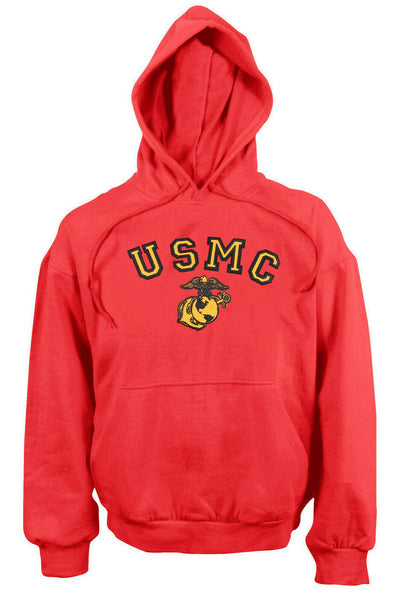 Mens Military Marines Hoodie USMC Marine Corps Red Hooded Sweatshirt Rothco 9222