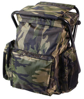 back pack with stool combo pack woodland camo camping item rothco 4548