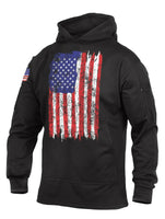 Black Distressed RWB US Flag CCW Concealed Carry Hoodie Sweatshirt Rothco 4166