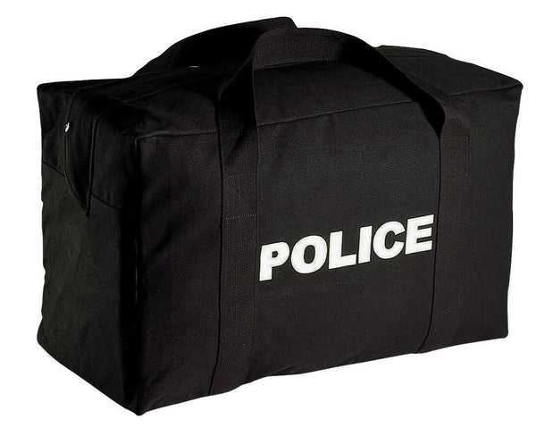 "police gear bag black large canvas 24"" x 15"" x 13"" rothco 8116"