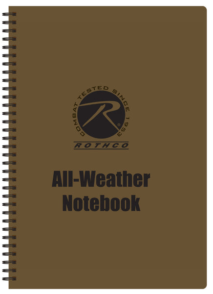 "All Weather Waterproof Notepad Tactical Coyote Brown 8.5"" X 11"" Rothco 44700"