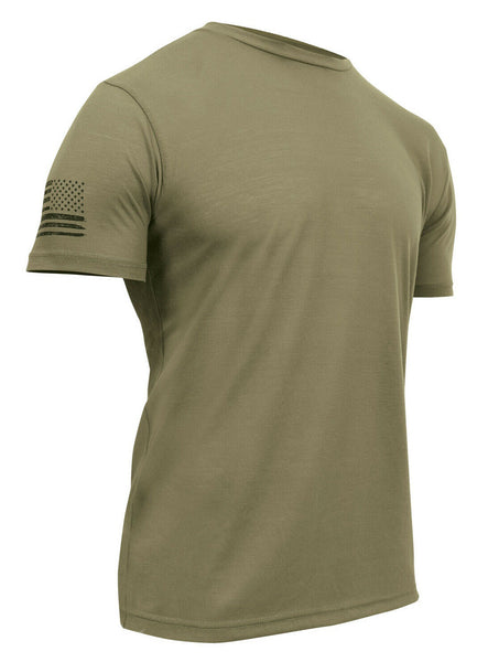 Tactical Coyote Brown Military T-shirt Athletic Slim Fit US Flag Rothco 1656
