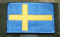 "sweden flag patch embroidered hook and loop backing swedish tactical 3"" x 2"""