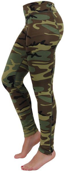 Womens Woodland Camo Performance Work out Fitness Spandex Leggings Rothco 44090