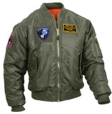 Tactical Sage Green MA-1 Flight Jacket With Patches And Loop Fields Rothco 7240