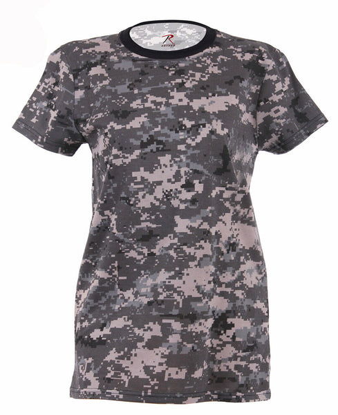 Womens Camo T-shirt Urban Digital Camouflage Longer Length Shirt Rothco 5672