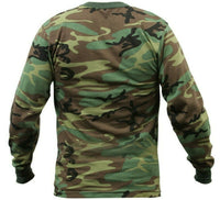 t-shirt camo long sleeve woodland camouflage cotton poly blend rothco 6778