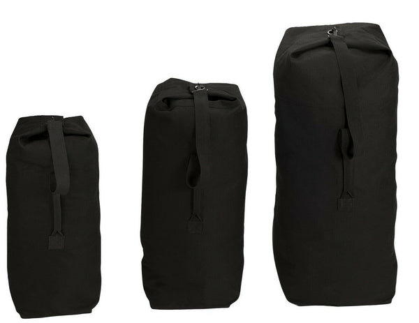 DUFFLE BAG CANVAS BLACK TOP LOAD VARIOUS SIZES AVAILABLE ROTHCO 3336