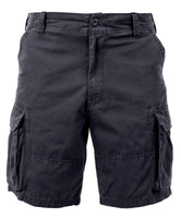 shorts black cargo vintage military style mens washed look rothco 2130
