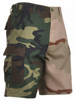 Mens Two Tone Camo BDU Shorts Woodland Tri Color Desert Camouflage Rothco 1810