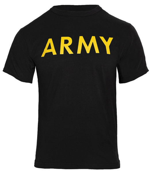 army t-shirt black cotton polyester blend yellow print pt style rothco 60363