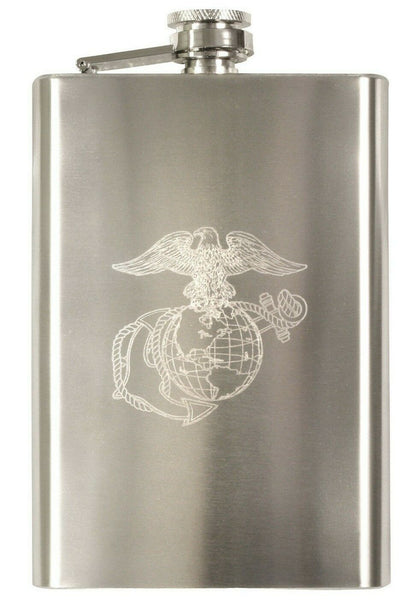 Marines Hip Flask USMC Logo 8 oz Stainless Steel Rothco 631