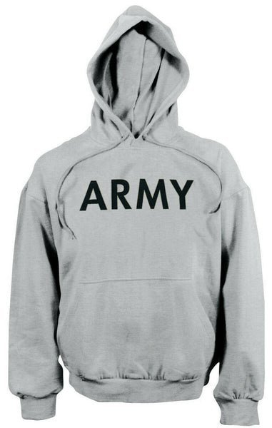 hoodie army hooded sweatshirt pullover grey various sizes rothco 9189