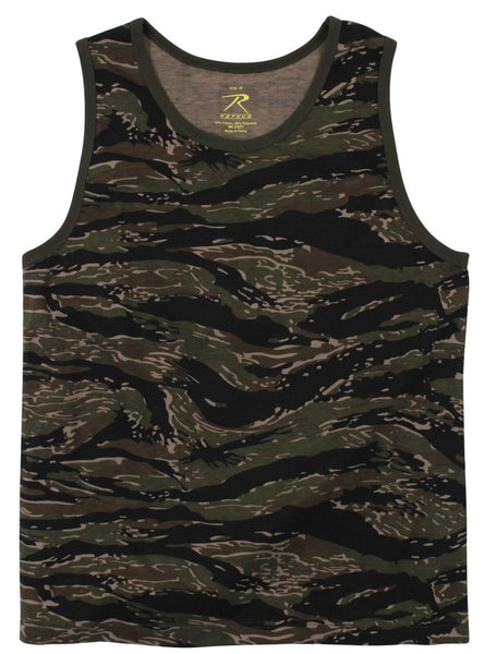 Tiger Stripe Camo Tank Top Sleeveless Muscle Tee Camouflage Military Army 8723