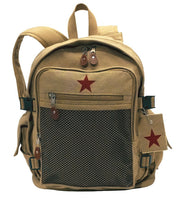 backpack khaki with star school travel pack adjustable straps rothco 9165