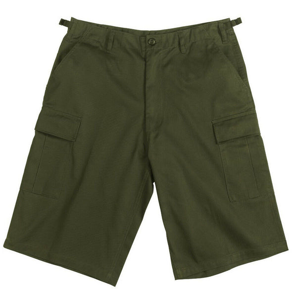 Mens Shorts Olive Longer Length BDU Military Style Cotton Poly Blend Rothco 7962