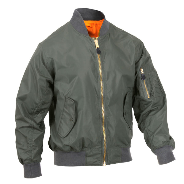 Returned Green Jacket Lightweight MA-1 Flight Military Bomber Style Rothco 6325