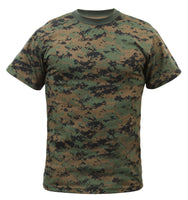 Camo T-shirt Woodland Digital Camouflage xs through 4xl Rothco 6494