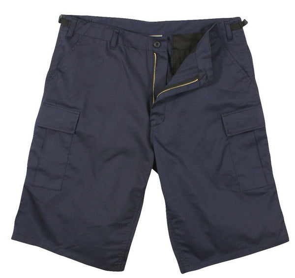 Mens BDU Shorts Longer Length Navy Blue Polyester Cotton Relaxed Fit Rothco 7432