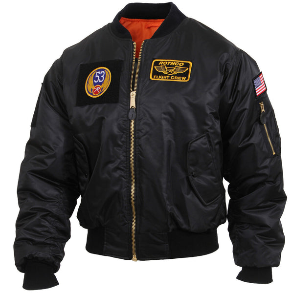 Tactical Black MA-1 Flight Jacket With Patches And Loop Fields Rothco 7250