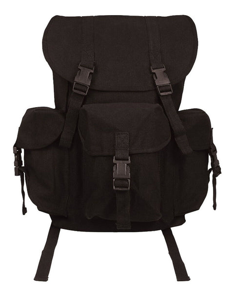 outfitter black canvas backpack school travel pack adjustable straps rothco 9202