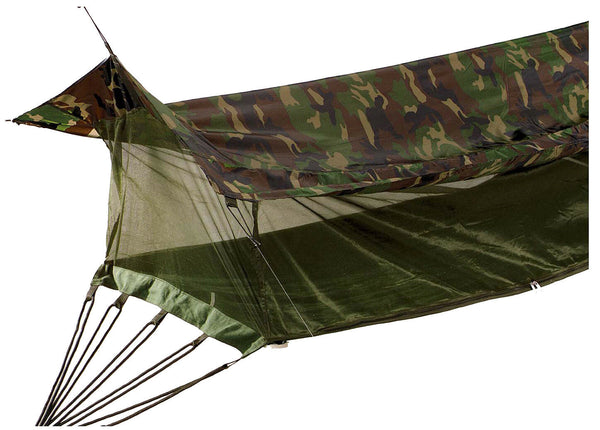 Jungle Hammock Insect Mesh Netting Coated Roof Woodland Camo One Person 2365