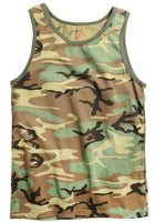 Woodland Camo Tank Top Sleeveless Muscle Tee Camouflage Military Army 6702