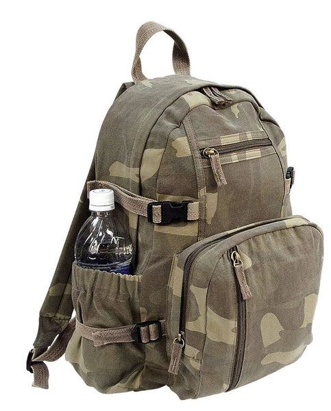 backpack woodland camo canvas mini vintage style adjustable straps rothco 9762
