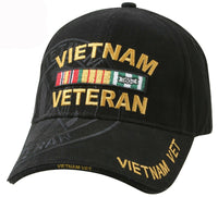 Vietnam War Veteran Ballcap Black Baseball Cap Hat Shadow Embroidery Rothco 9598
